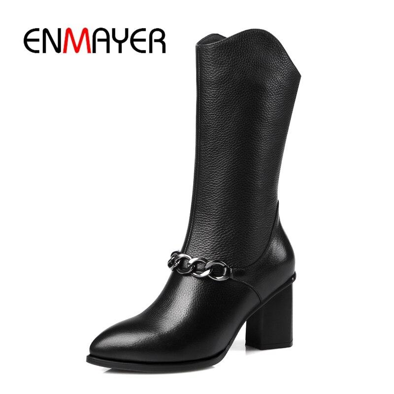 Taille 43 Enmayer Hautes Zyl873 Chaud Vache Bottes 34 Femmes Zipper D'hiver En Hauts Cuir 2018 De Chaussures Black Sexy Talons Pour xgaxw
