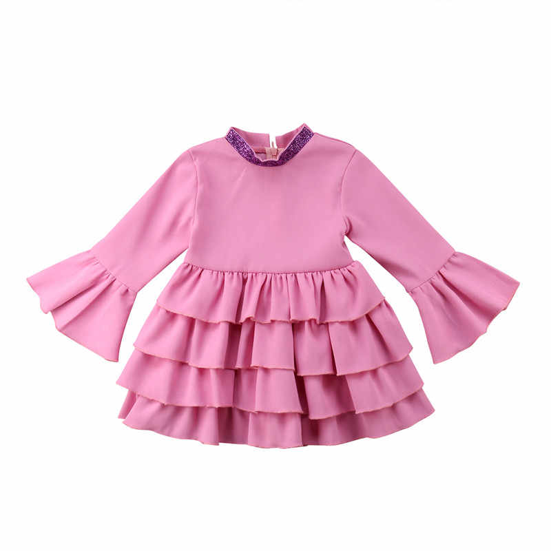 ... Baby Kids Girls Dress Long Flare Sleeve Dresses Autumn Round Neck Pink  Solid Ruffle Party Wedding ... bb5dc4f0297b