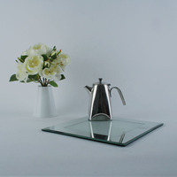 Coffee Cup Glass Coaster, Twinkling Crystal & Glass Plate With Elegant Italian Design, Quality Tableware For Tea Time Party