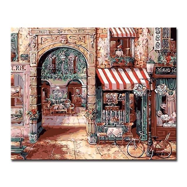 European Style Building Store DIY Digit Painting By Numbers Coloring ...