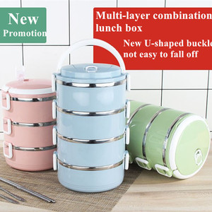 New 4 Layers Stainless Steel Insulation Lunch Boxes Thermal Bento Box Food Container Snack Organizer Tiffin Lunchbox For Kids