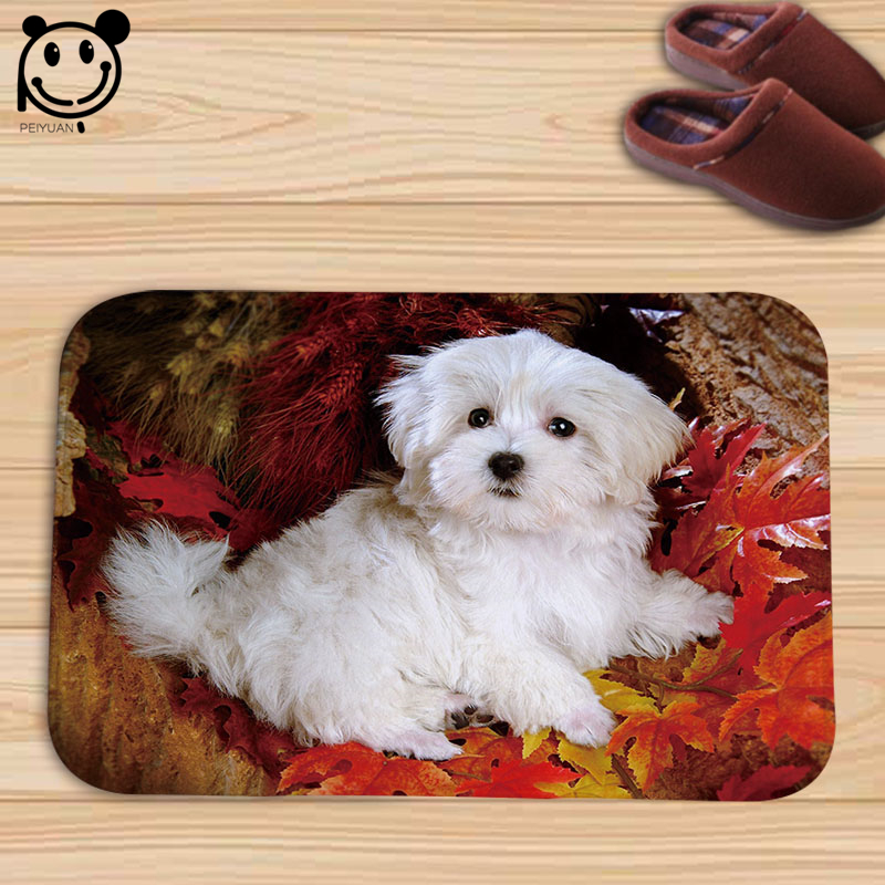 PEIYAUN Lovely Animal Dog and Flowers Indoor Flannel Door Floor Mat Carpets Rug Tapete Gifts for Pets Home Decor
