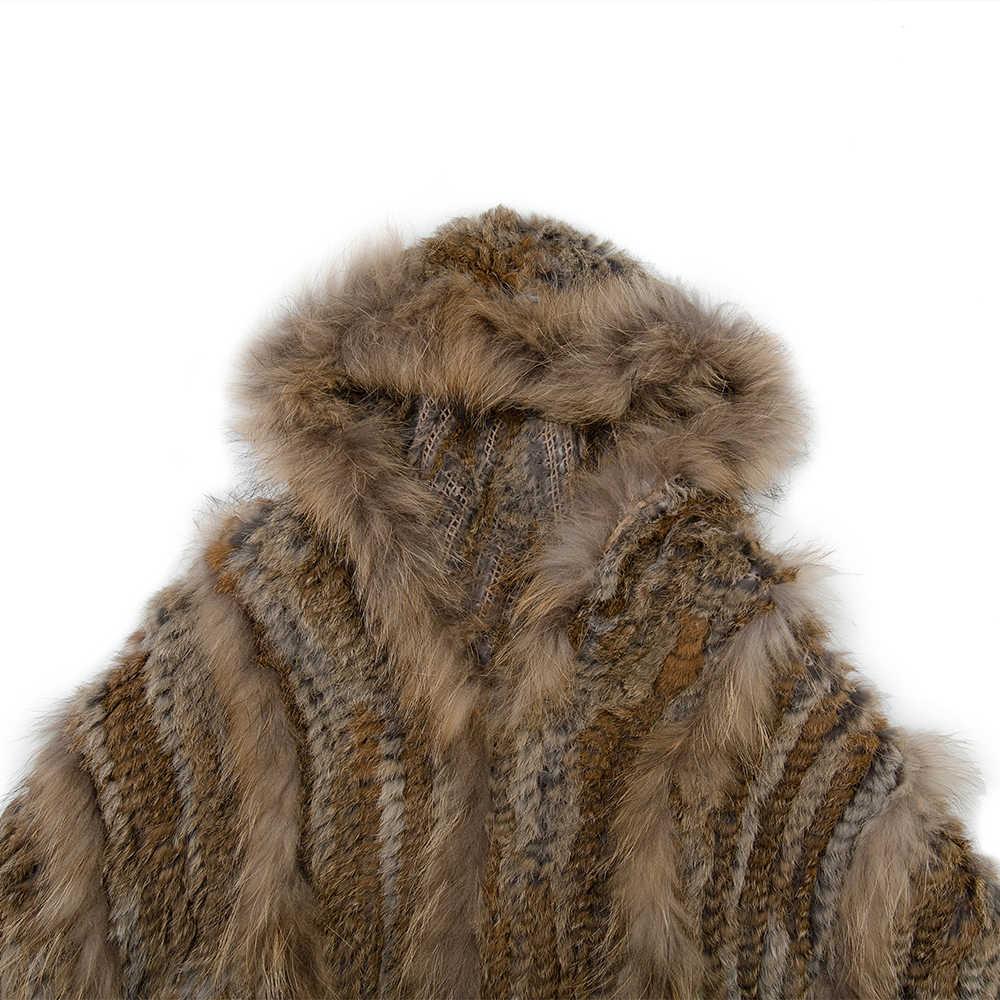 Haisum Ha Lavorato A Maglia Reale del coniglio e Pelliccia di procione Scialle poncho rubato scrollata di spalle del capo veste tippet wrap inverno delle donne cappotto caldo /outwear CS130