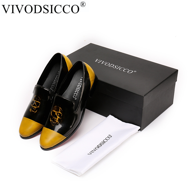 VIVODSICCO New Men Black Patent Leather Shoes Party and Wedding Men Dress Shoes Luxurious Handmade Men loafers Male's Flats luxurious genuine leather bottom and insole men handmade loafers wine red velvert with black striped wedding men s dress shoes