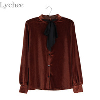 Vintage Spring Autumn Women Blouse Bow Tie Lace Up Velvet Casual Loose Long Sleeve Shirt