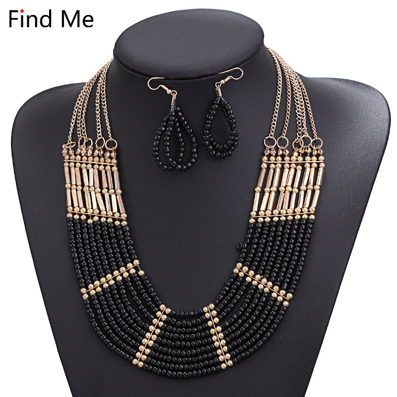 Find Me 2018 new brand Fashion big beads collar Choker Necklace Pendants Boho multilayer Maxi statement Necklace Women Jewelry