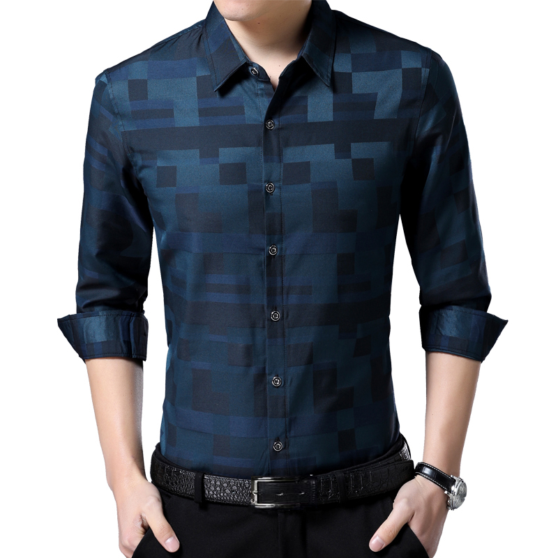 Liseaven Men's Shirt Brand New Men Shirts Full Sleeve Dress Shirt Turn-down Collar Male Casual Shirt Mens Clothing 5