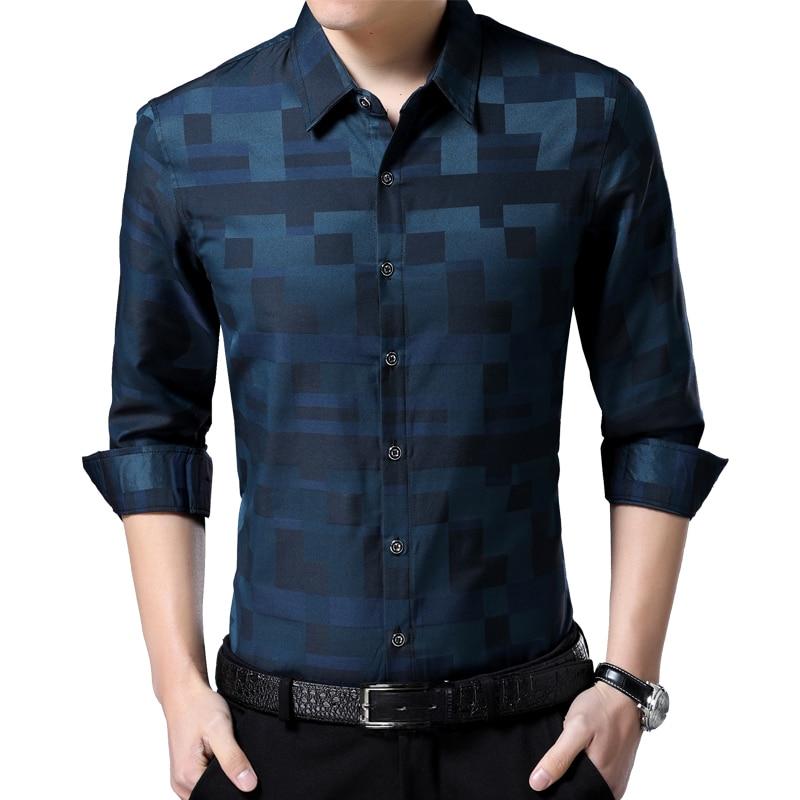 Liseaven Men's Shirt Brand New Men Shirts Full Sleeve Dress Shirt Turn-down Collar Male Casual Shirt Mens Clothing