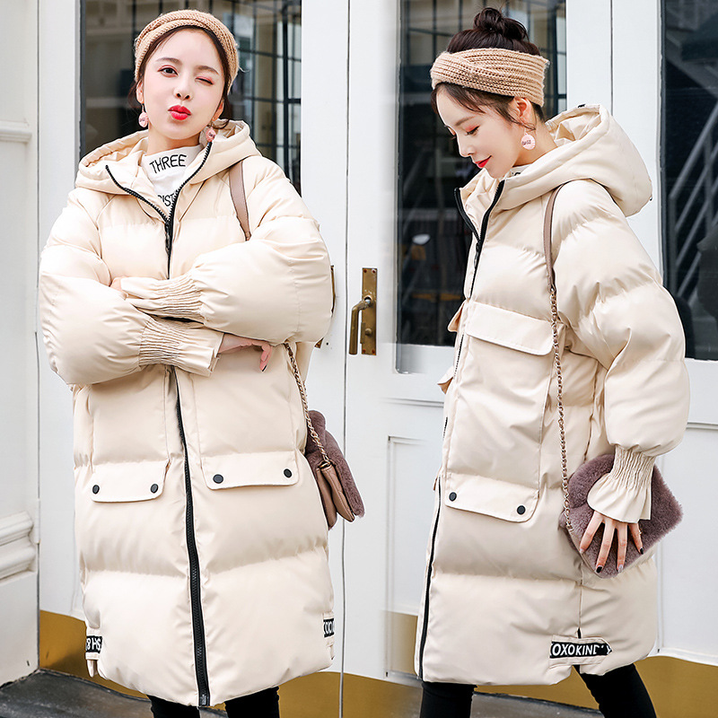 Maternity Women New Moms Solid Color Hooded Down Cotton Mid-long Cardigan Coat Fashion Warm Puffer Outdoor Winter Jackets fashion long sleeve solid color pockets cardigan for women