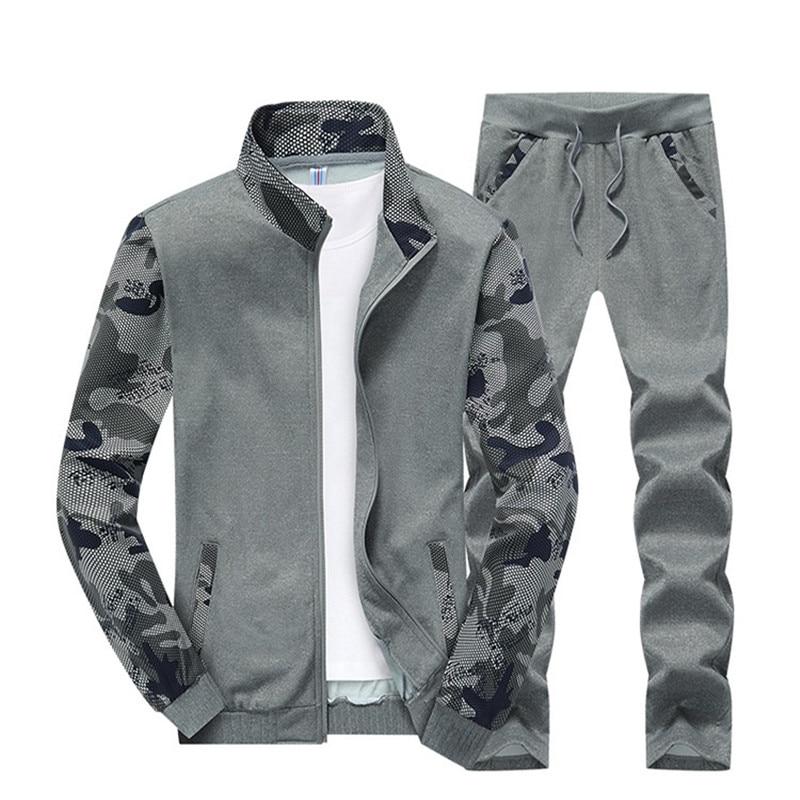 M-4XL Мужские комплекты Мода Осень-Весна спортивный костюм Толстовка + спортивные штаны Мужская одеж