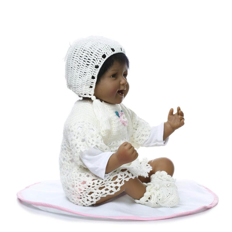 NPK 22 Inch Black Reborn Baby Dolls Soft Silicone Realistic Babies Girl Ethnic doll Children Birthday Xmas Gift hot sale 2016 npk 22 inch reborn baby doll lovely soft silicone newborn girl dolls as birthday christmas gifts free pacifier