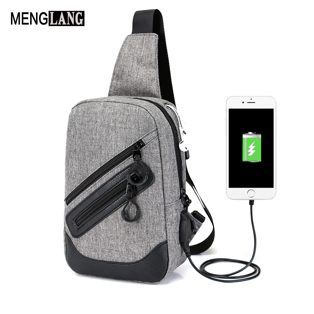 Anti-Theft USB Chest Bags Messenger Small Sling Canvas Shoulder Crossbody Bags Travel Gray