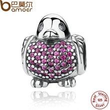 Robin bamoer plata de ley 925 encanto de plata con rojo y claro cubic zirconia encantos cupieron las pulseras de la joyería animal pas275