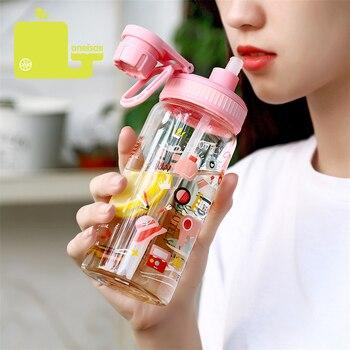 6d7b554a7ab5 Oneisall botella de agua de plástico de dibujos animados BPA Linda paja  Protable niños mujeres Drinkware 500 ml mis botellas de agua de deporte para  los ...