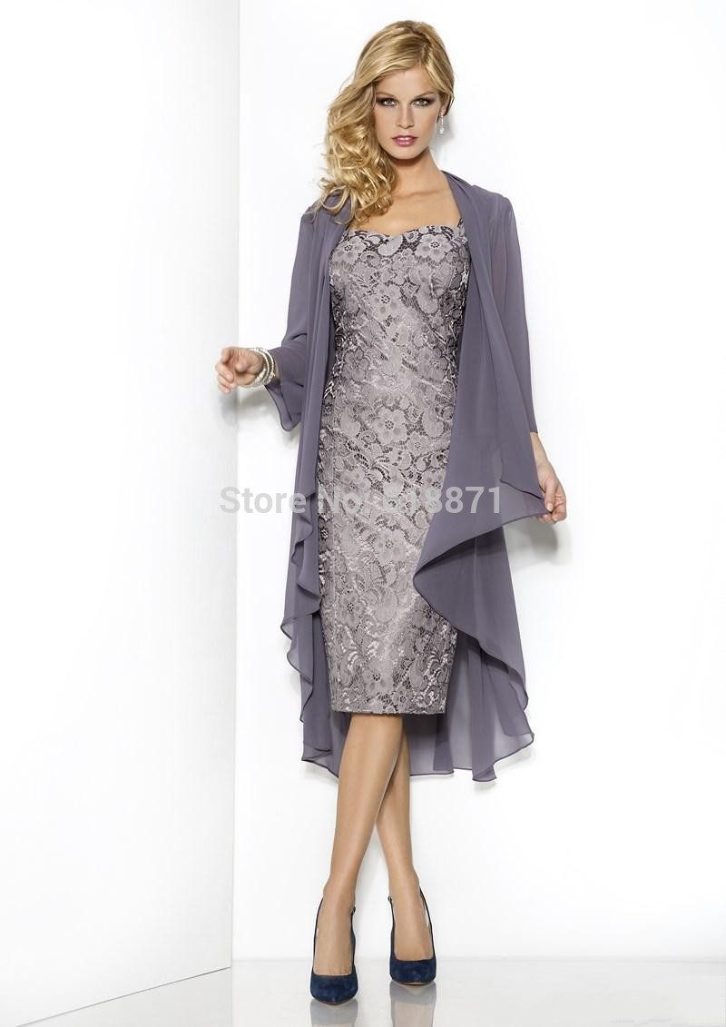 Grey Long Chiffon Jacket Lace Mother Of The Bride Dresses Knee ...