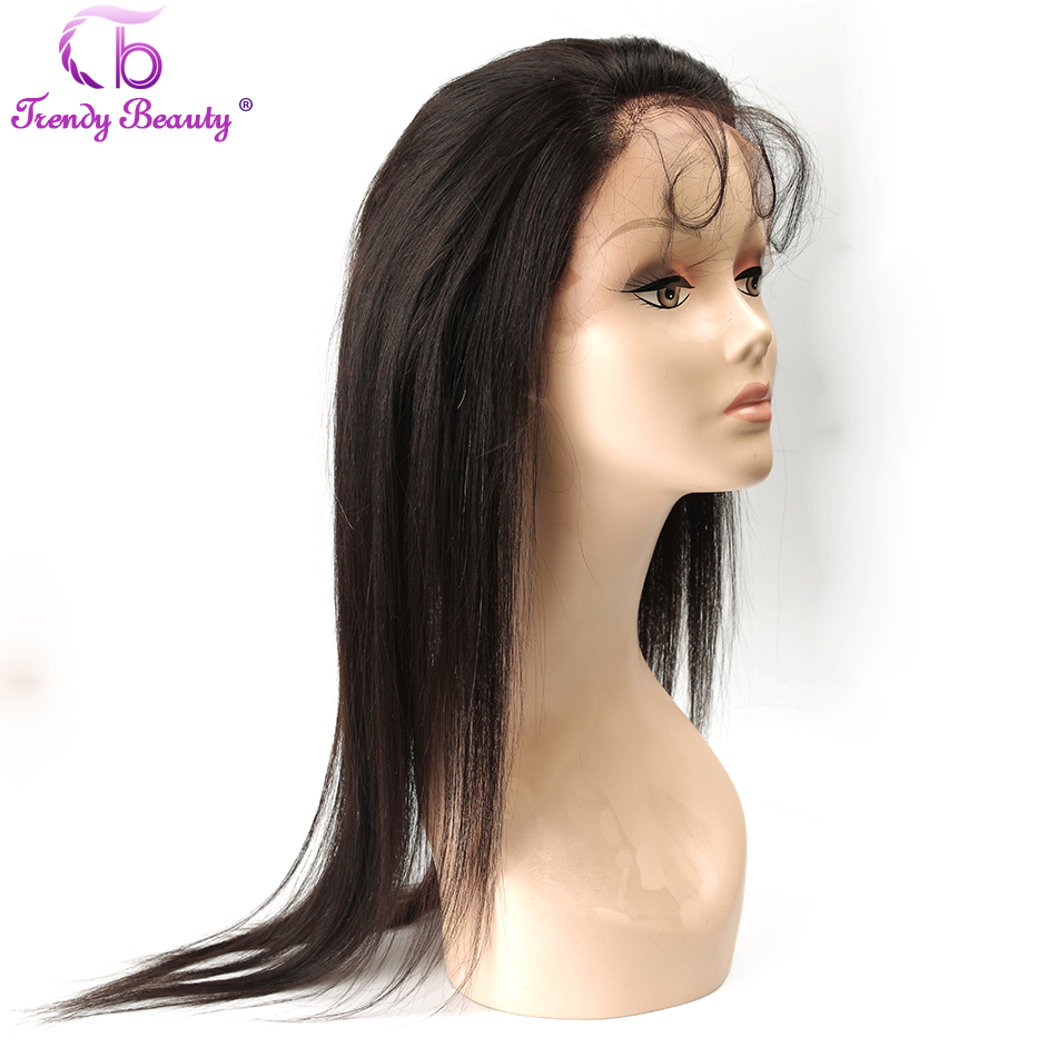 Trendy Beauty Peruvian Straight 360 Lace Frontal Human Hair 22''x4'' Full Lace 360 Frontal Closure With Baby Hair Non remy-in Closures from Hair Extensions & Wigs    1
