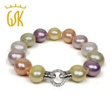 Gemstoneking 15mm multicolor barroco shell de la perla pulsera para las mujeres 925 de plata esterlina cz blanco broche(China (Mainland))