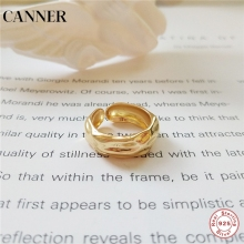 CANNER 925 sterling silver gold color rings designer works simple element design personality for women fashion jewelry R4