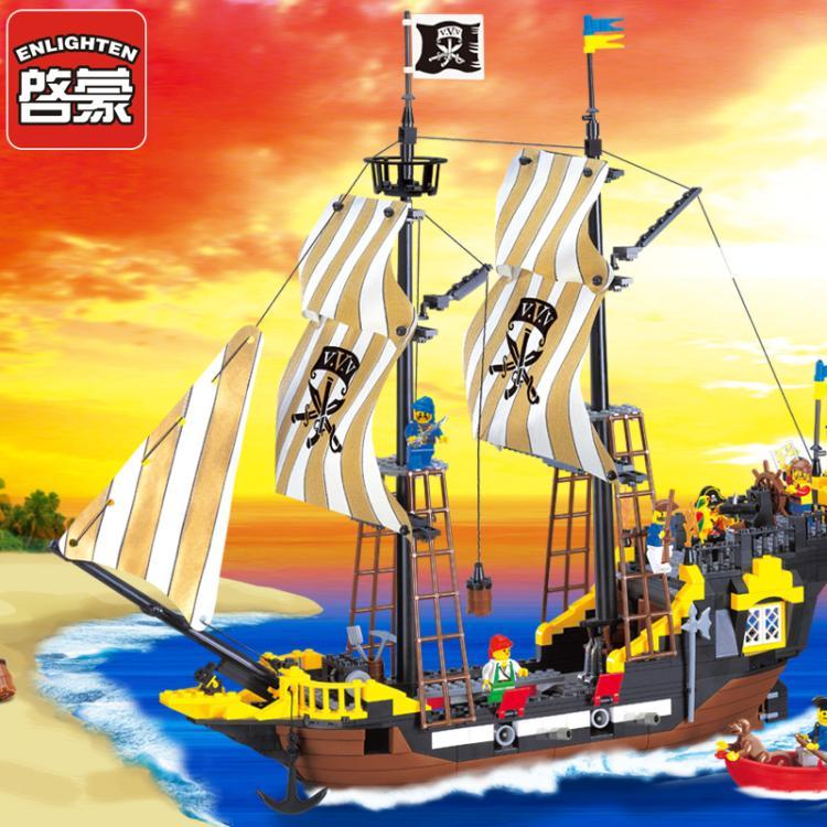 Pogo Lepin 590Pcs Enlighten Pirate Series Pirate Ship Weapons Assembling Building Blocks Bricks Toys Compatible Legoe lepin 22001 pirate ship imperial warships model building block briks toys gift 1717pcs compatible legoed 10210