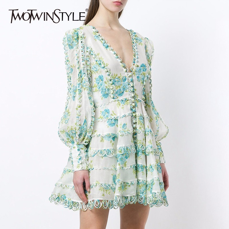 TWOTWINSTYLE Printed A-Line Dresses Women Long Sleeve V Neck Sexy Mini Dress Female Fashion Elegant Clothes 2018 Summer Autumn new arrival 2018 autumn knitted dresses fashion women long sleeve v neck knee length dress casual solid female dress clothes