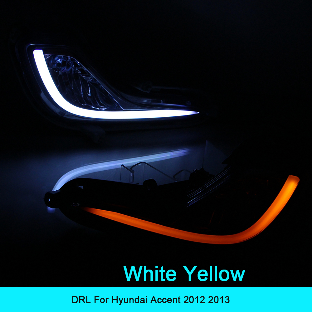 Car DRL kit For Hyundai Accent 2012 2013 LED Daytime Running Light Bar Super bright fog