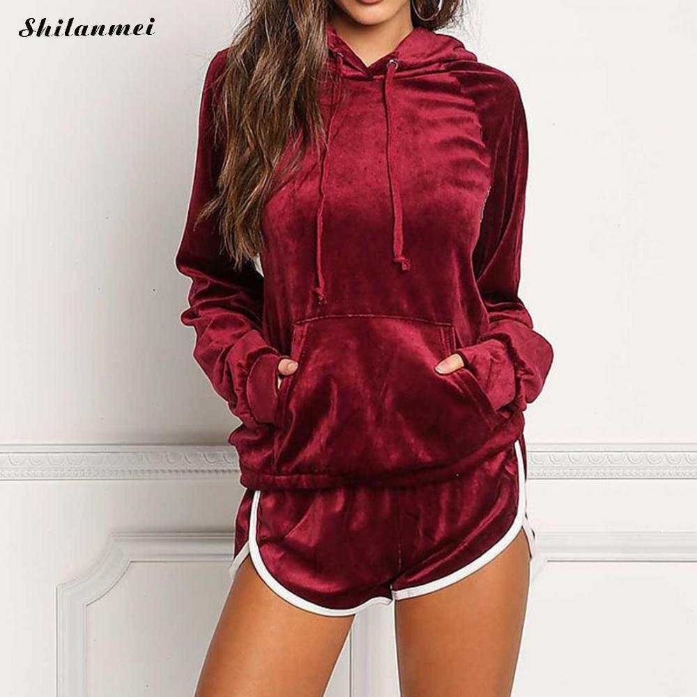 Corduroy Two Piece Set Tracksuit For Women Hooded Sweatshirts And Short Set 2018 Womens Casual Sweat Suits Loose Summer Outfits