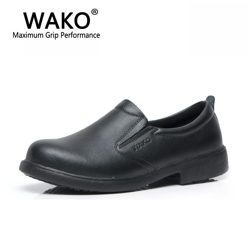 WAKO 9802 Men Chef Shoes Waterproof Anti Oil Kitchen Work Shoes Wear Resistance Male Split Leather Shoes Non-skid Slip on 38-44 france tigergrip waterproof work safety shoes woman and man soft sole rubber kitchen sea food shop non slip chef shoes cover