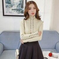 Camisas Femininas Manga Longa 2018 Slim Knitted Striped Cotton Women Blouses Casual Womens Shirt Long Sleeve