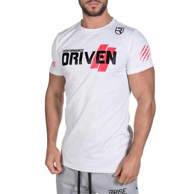 Nowy wzrost w stylu casual, letnia nowa odzież siłownie luźna koszulka męska topy fitness Tees moda Streetwear wypracować odzież sportowa