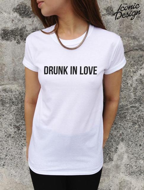 Harajuku Wanita Tshirt Mabuk Cinta Huruf Mencetak Katun Lucu Kemeja Untuk Wanita Tee Top