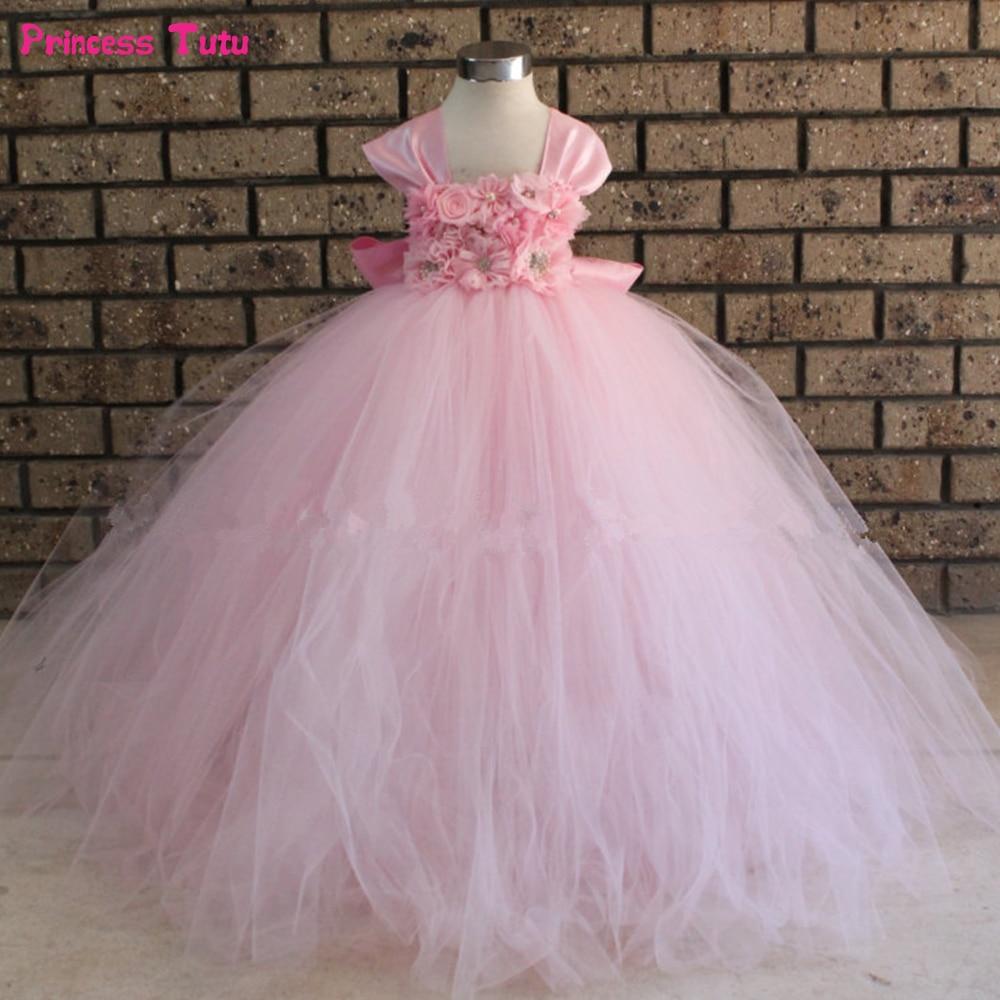 White, Pink Flower Girl Tutu Dress with Long Removable Train Flower Girl Dress Ball Gowns for Children Kids Wedding Party Dress
