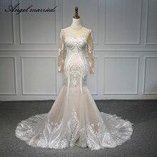 Angel married wedding dresses mermaid long sleeve