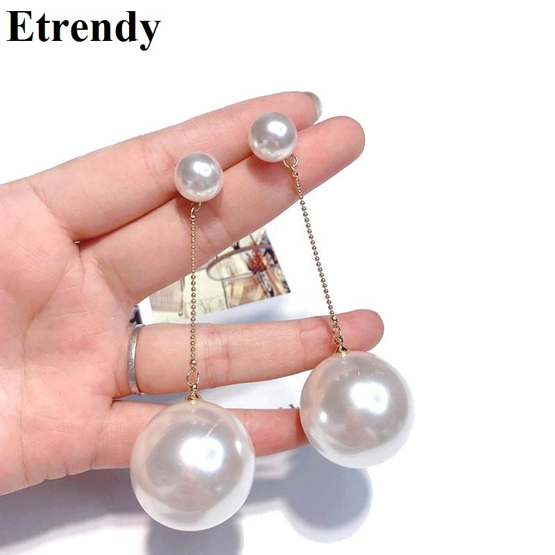 Big Simulated Pearl Earrings For Women Classic Statement Ball Long Earrings Fashion Jewelry Party Runway Bijoux White Colors