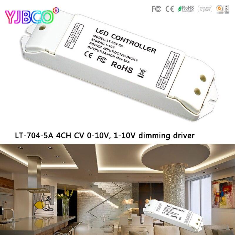 LT-704-5A; DC12-24 V 4CH CV 0-10 V, 1-10 V à PWM gradation pilote 5A X 4 CH MAX 20A pour led rgbw bande couleur unique bande