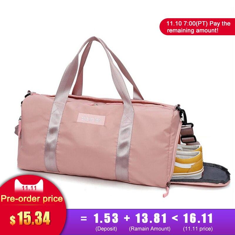 Swimming Yoga Fitness Gym Bags Dry Wet Bag Handbags For Women Shoes Travel Training Waterproof Pink Pool Beach Duffel XA545WA
