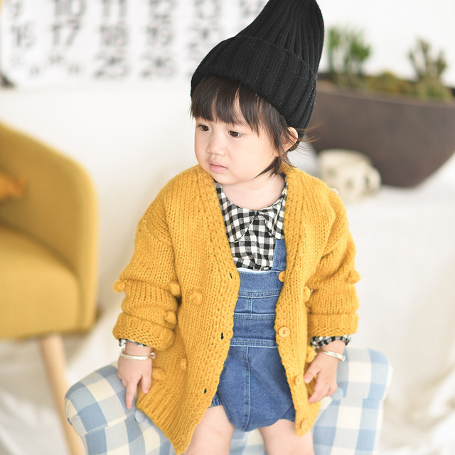 1-3 Years Old Baby Girl Sweater Child 17 Winter Ball In Hand Down Sweater Cardigan Jacket Cardigan For Girl Girls Cardigan 3
