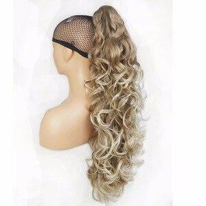 Image 2 - StrongBeauty длинные кудрявые заколки для конского хвоста удлинители волос 32 дюйма синтетическое Термостойкое волокно