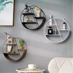Estilo nórdico de metal decorativo prateleira redonda hexagonal armazenamento titular rack prateleiras decoração da parede casa ornamento em vaso titular rack