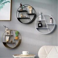 Nordic Stijl Metalen Decoratieve Plank ronde Hexagon opslag houder rack Planken Thuis wanddecoratie Potplanten ornament houder rack