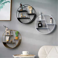 Nordic Style Metal Decorative Shelf round Hexagon storage holder rack Shelves Home wall Decoration Potted ornament holder rack