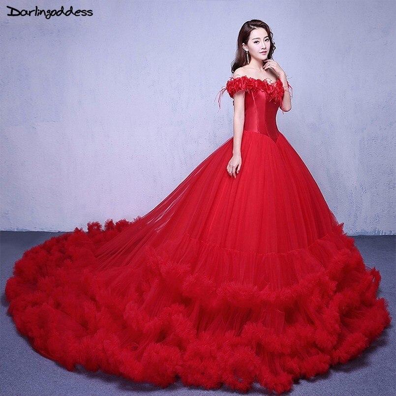Detail Feedback Questions about Red Wedding Dress Long Tail Cap Sleeve Ball Gown  Wedding Dresses 2018 Clould Wedding Dress Plus Size Vestido De Noiva ... 577269675e8d