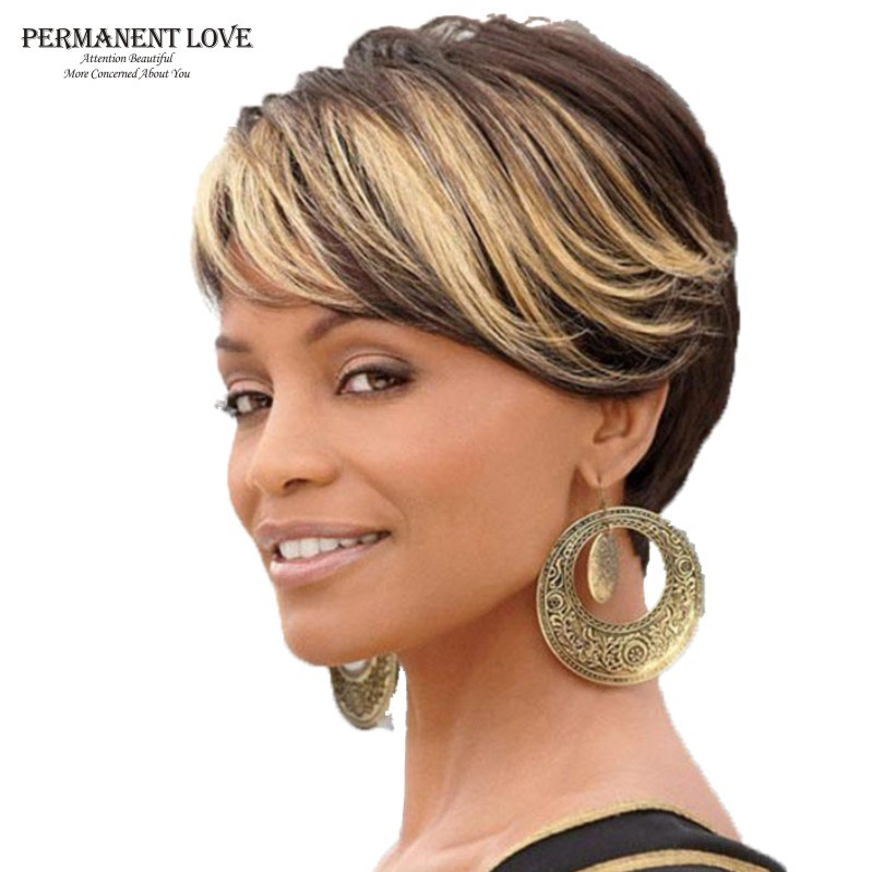 Ombre Short Wigs For Black Women Black Rooted Side Bangs
