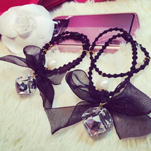 New Korea Hair Accessories for Women Flash Crystal Pearl Lace Bow Elastic Hair Bands