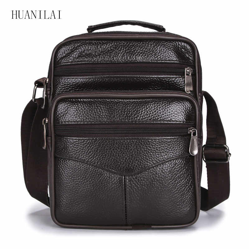 HUANILAI Men Bags Messenger Bags  Fashion Business Shoulder Bags For Men Genuine Leather Bags High Capacity Handbags TY006