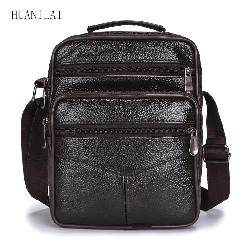 HUANILAI Men Bags Messenger Bags Fashion Business Shoulder Bags For Men Genuine Leather Bags High Ca