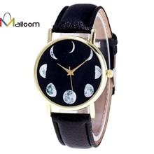 MALLOOM Splendid 2016 Women Fashion Lunar Eclipse Pattern PU Leather Analog Quartz Wrist Watch Dress Watch Relogio Feminino #YH