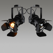 Lámpara de techo de hierro E27 de 4 hojas ajustable, lámpara de proyecto Industrial, lámpara Retro de luz para Bar de café, accesorio de estilo Loft