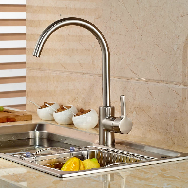 ФОТО Swivel Spout Tap Brushed Nickle Kitchen Faucet Single Handle Tap Hot&Cold Faucet