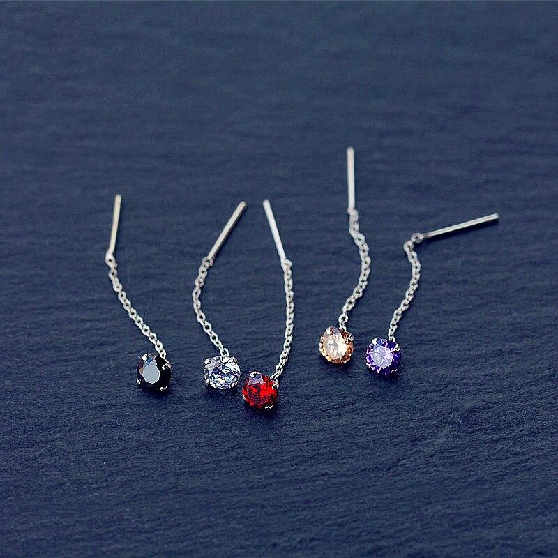 INZATT Cute 925 Sterling Silver Short Tassel Geometric Zircon Drop Earrings Five Colors Crystal Women Fine Jewelry Accessories