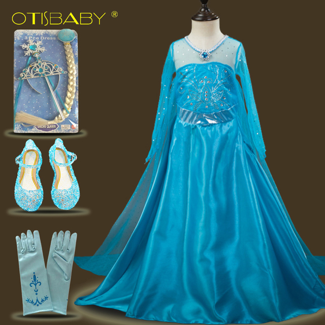 Fancy Baby Girl Dress Elsa Anna Cosplay Costume Party Festival Princess Dress with Cloak Snow Queen Crystal Clothing Teenagers